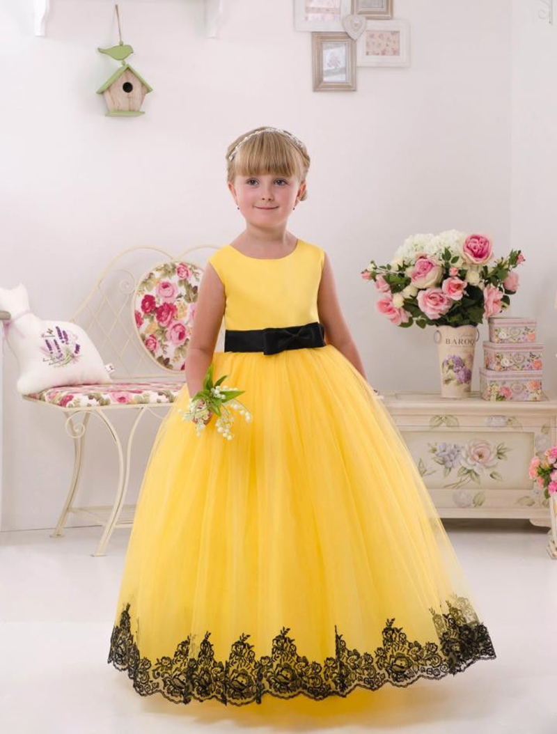 Cute yellow girl pageant dress for wedding toddler ball for Yellow wedding dresses for sale