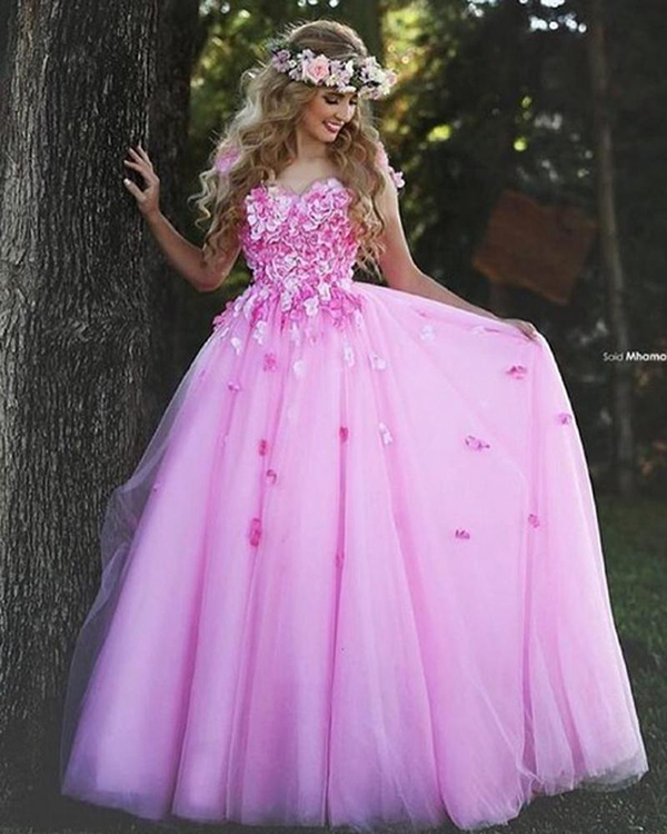 Pink Christmas Prom Dresses Ball Gown Flower Beautiful Tumblr Tulle ...