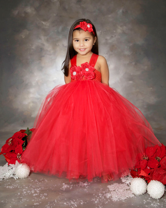 Red Flower Girl Dress Christmas Tutu Dress Wedding Party Gown on Luulla