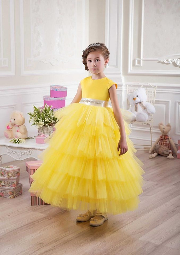 Yellow Baby Girl Birthday Party Christmas Dresses Children Girl ...