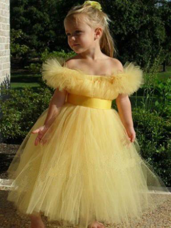 Cute princess first communion girl clothing yellow flower girl cute princess first communion girl clothing yellow flower girl dresses mightylinksfo
