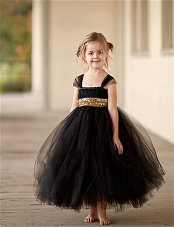 1ccbc2099 Fashion Gold Sequin Black Flower Girl Dresses Baby Girl Tutu Dress Bow Ball  Gown