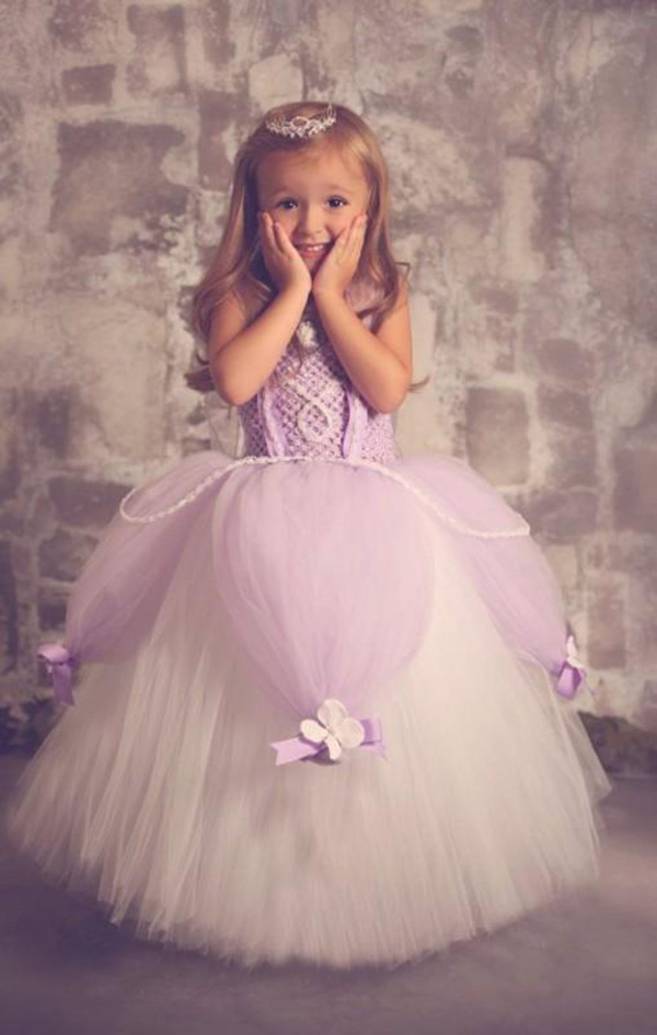 New Custom Made Lavender White Color Pearl Girl Pageant Flower Girl