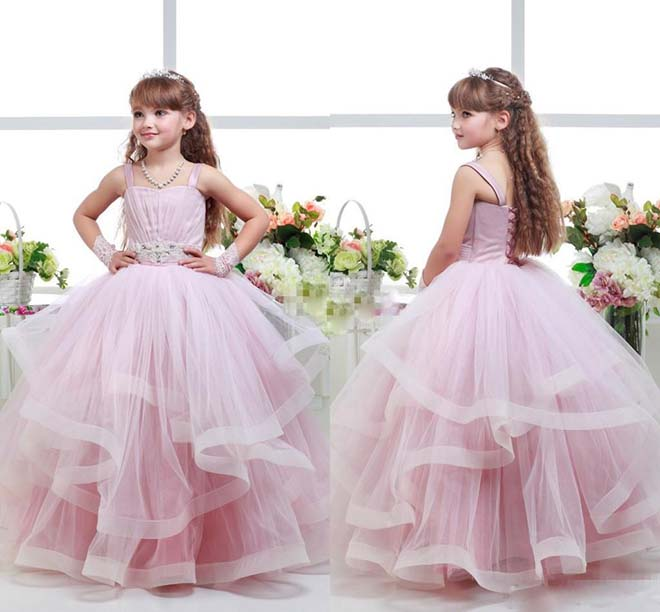 2018 Pink Toddler Ball Gown Wedding Flower Girl Dresses Tutu Ruffles ...