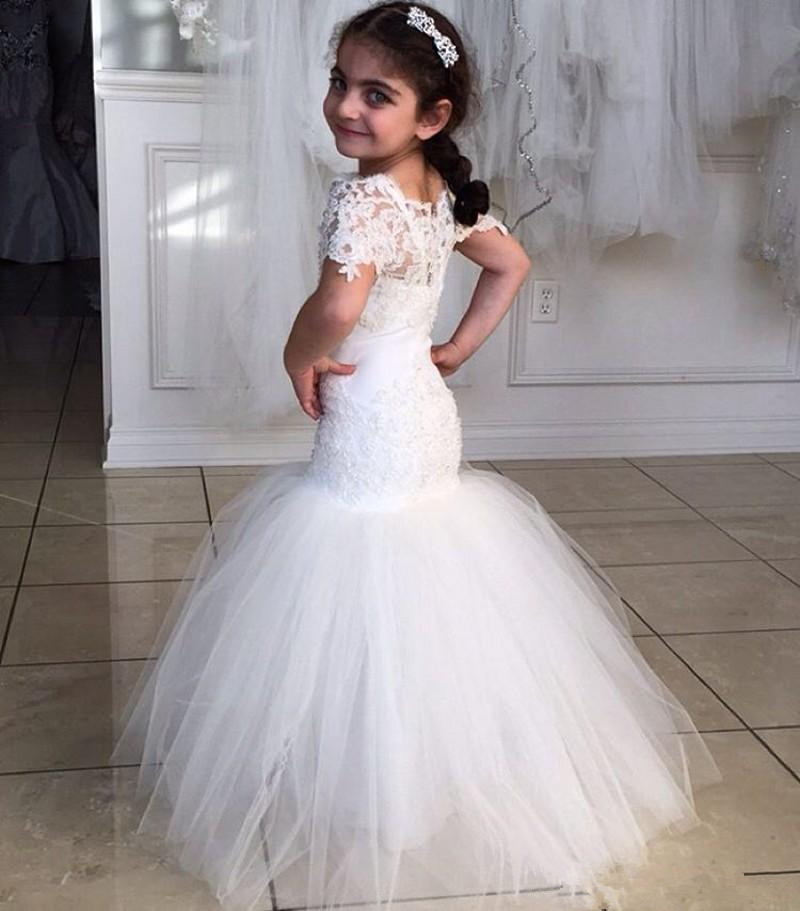 7431464b8 2016 Princess Flower Girl Dresses Short Sleeves Mermaid Lace Christening Baby  Dress Wholesale Cheap Cummunion Gowns