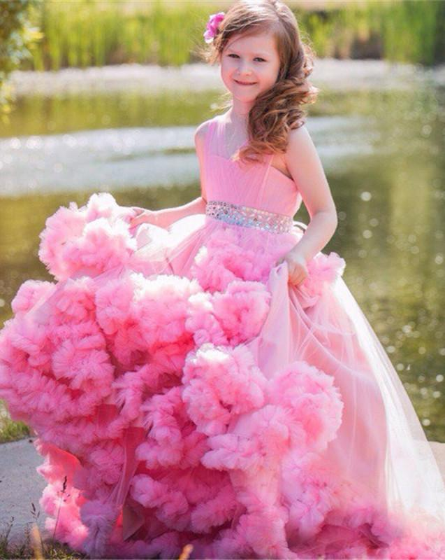 Lovely Pink Ruffles Tulle Flower Girl Dresses 2016 Beading Sashes ...