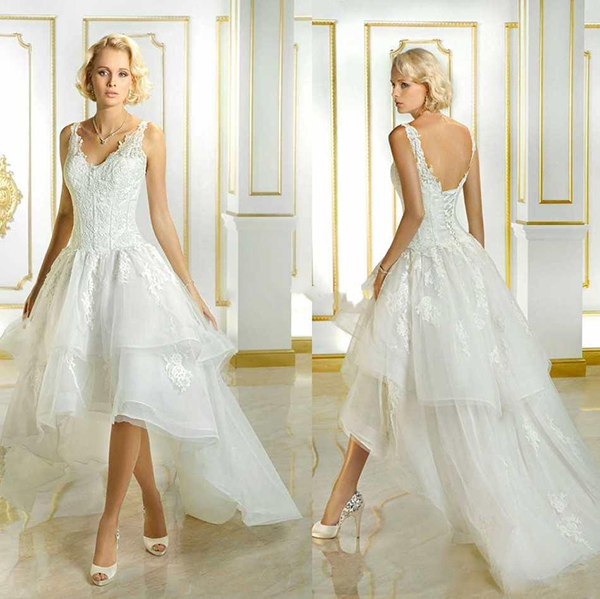 997cf7b2a6 High Low Spaghetti Strap Beach Wedding Dresses