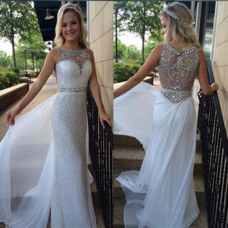 ea7f1255aea Fashion Straight White Ivory Sequins Prom Dresses 2016 Custom Beaded  Crystal Scoop Neck Floor Length Formal