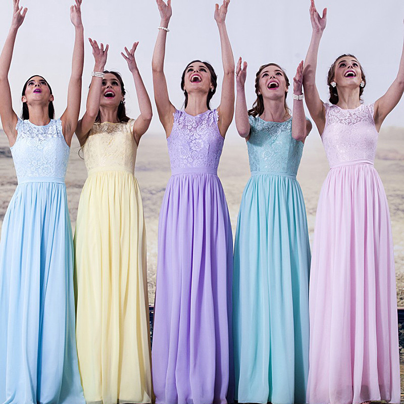 Yellow Light Blue Purple Sky Blue Bridesmaid Dresses Vestido ...