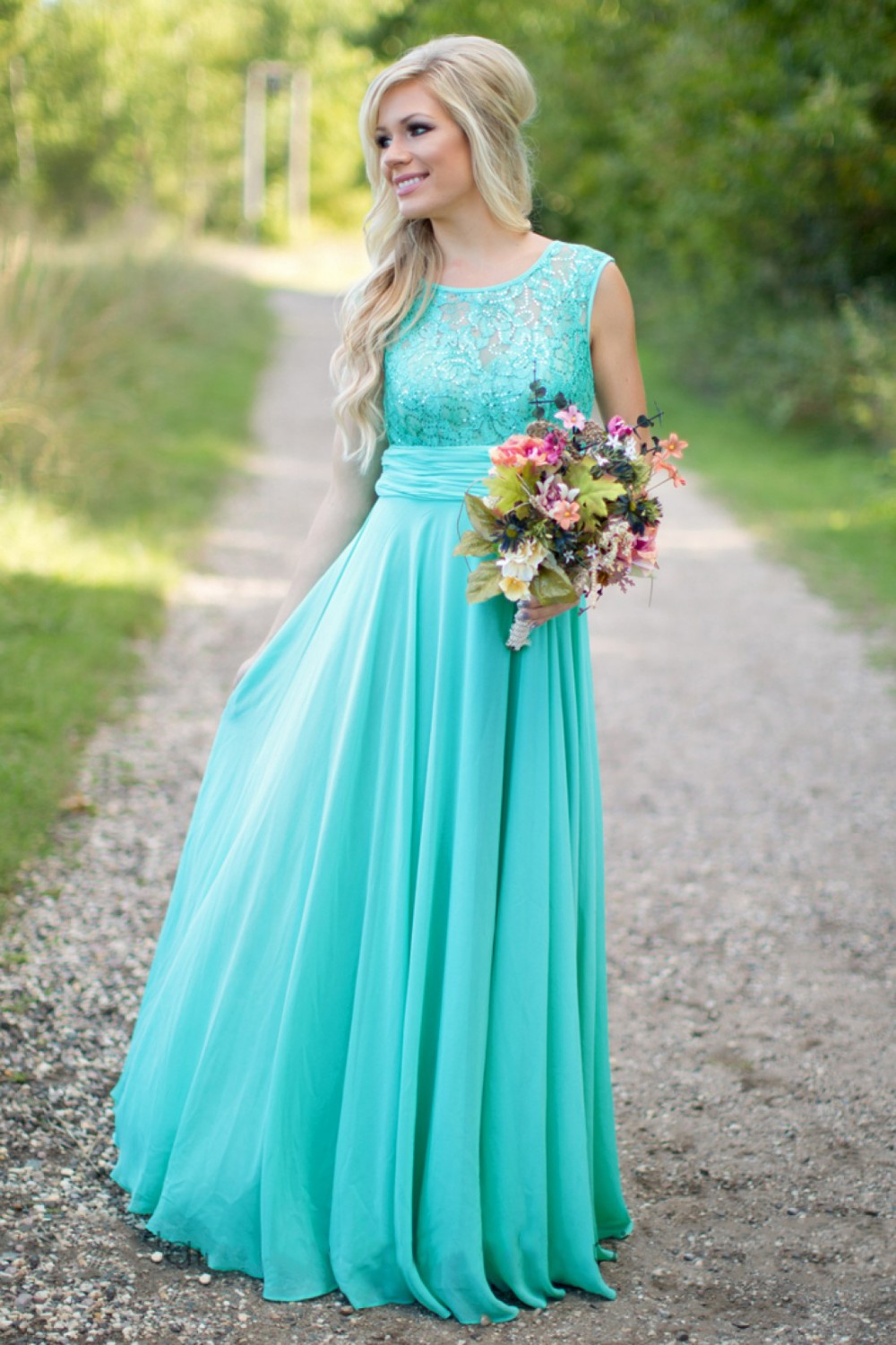 New Fashion Long Bridesmaid Dresses For Wedding Brides Chiffon Mint Green Women Evening Gowns Liques Lace Prom