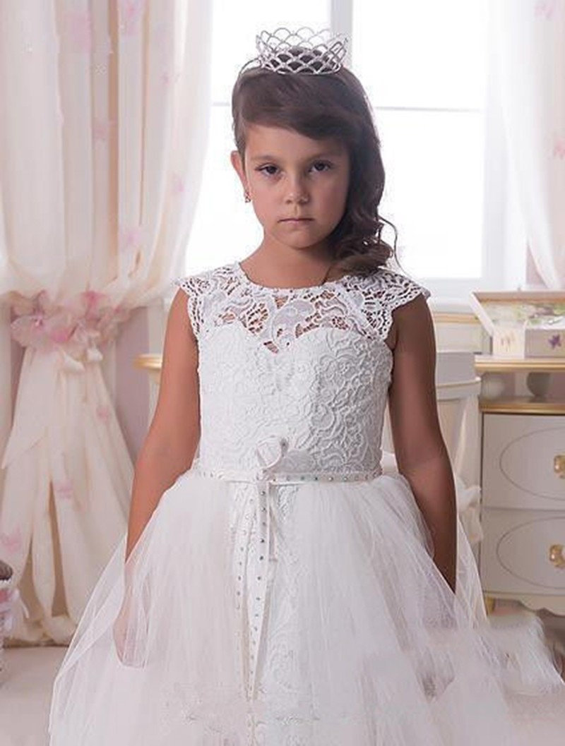White lace flower girl dress crystals party christmas kids toddler white lace flower girl dress crystals party christmas kids toddler wedding gown detachable train sashfirst communion dresses high low toddler dresses mightylinksfo