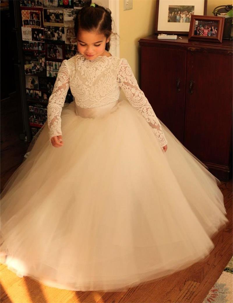 Puffy White Ivory Tulle Flower Girl Dresses Lace Appliques Flower