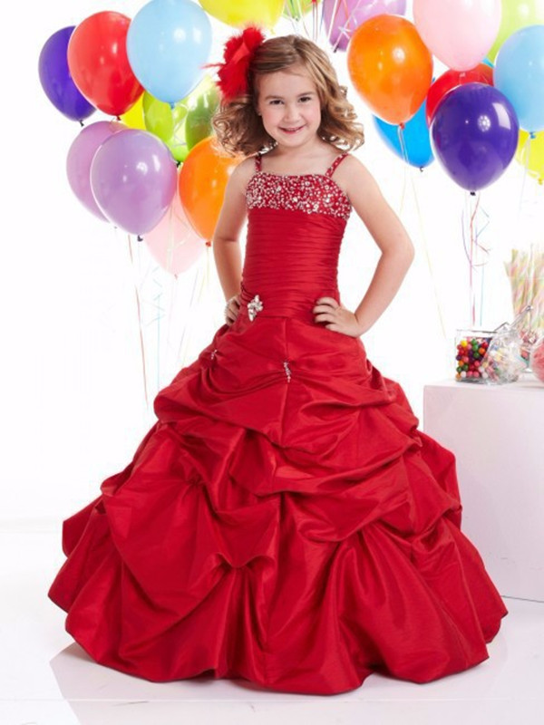 8ff92b0d969 Charming Red Flower Girl Dresses For Wedding Beading Spaghetti Straps Ball  Gowns Taffeta Pageant Gowns Princess Party Dresses Sequins Beading Girl  Pageant ...