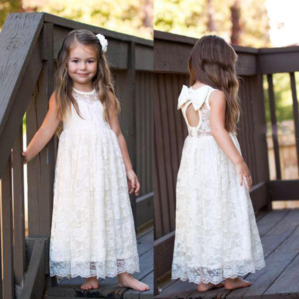 622267eef49e Lace Flower Girls Dresses For Weddings tutu Ritzee Long Girl Pageant Gowns  Backless Full Length Teens