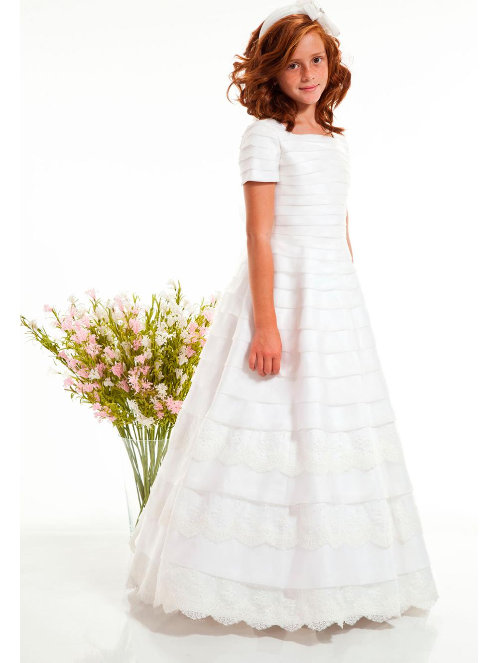 New style cheap flower girl dress exqusite square satin applique new style cheap flower girl dress exqusite square satin applique edge tiers floor length white ivory a line flower girls birthday dresslace first izmirmasajfo