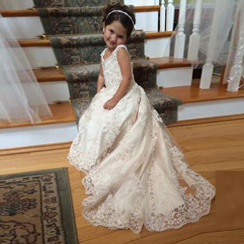 2016 lace flower girls dresses for weddings v neck spaghetti sequins 2016 lace flower girls dresses for weddings v neck spaghetti sequins appliques tulle satin sweep train white ivory pageant dresses for girlskids prom mightylinksfo