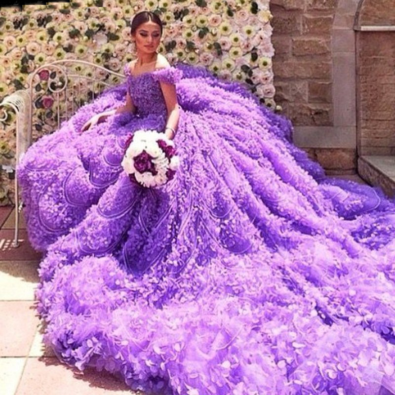 2018 Real Gorgeous Purple Ball Gown Luxury Scoop Off The Shoulder Beaded Crystal Flowers Wedding Dresses Back Lace Up Bridal For Brides