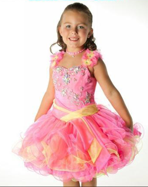 Charming Kids Pageant Dresses Multi Color Ball Gown Ruffles Organza ...