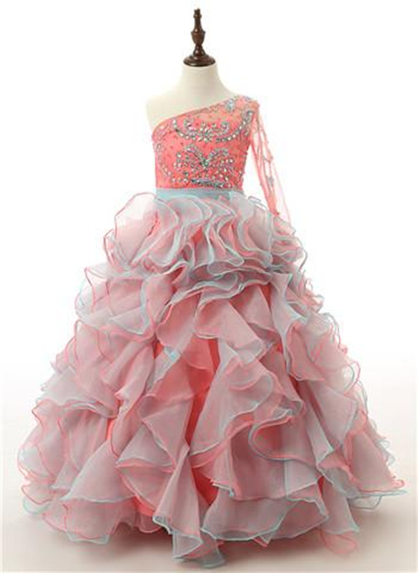 Puffy Real Picture Girls Beaded One Shoulder Flower Girl Dresses