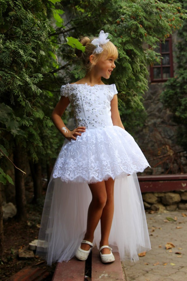 Pretty Hi-lo Kids Birthday Peasant Gowns Plus Size Tulle Lace Pageant Dress  First Communion Dresses For Little Girl Bridesmaid Gown Short Front Long ...