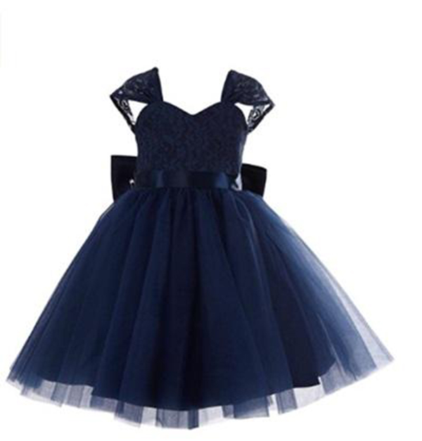 83c8a0671a1f Lovely Navy Blue Lace Wedding Flower Girls  Dresses Cap Sleeve Tulle ...