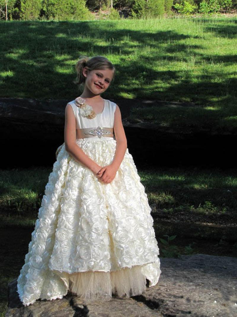 Gorgeous Girls Pageant Dress With Crystals Sash Flower Girl Dresses
