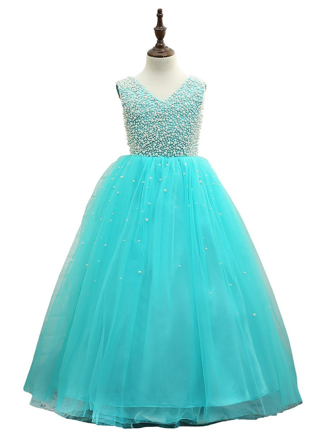 Pretty Turquoise Tulle Flower Girl Dresses Girls First Communion ...