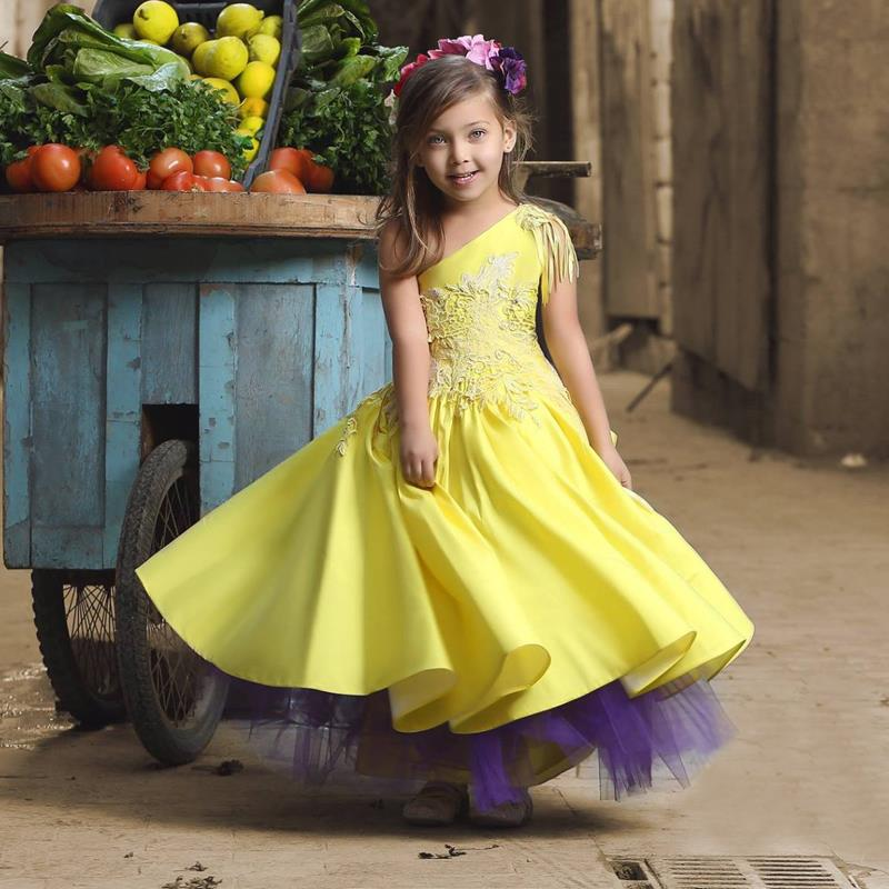 274c510eb073 2018 Pretty One Shoulder Flower Girl Dresses Tassel Appliques Kids Prom Dress  Cheap Pageant Dresses For