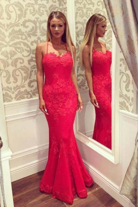 Sexy Formal Women Evening Dresses,Mermaid Red Lace Evening Gowns,Spaghetti Straps Prom Gowns,Open Back Party Dresses,Appliques Prom Dresses