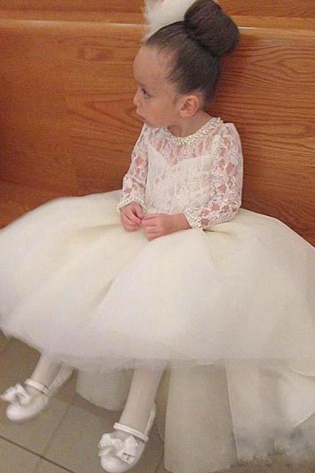 White/Ivory Long Sleeves High Low with Long train Pearls Beads Flower Girl Dress For Wedding kid gown