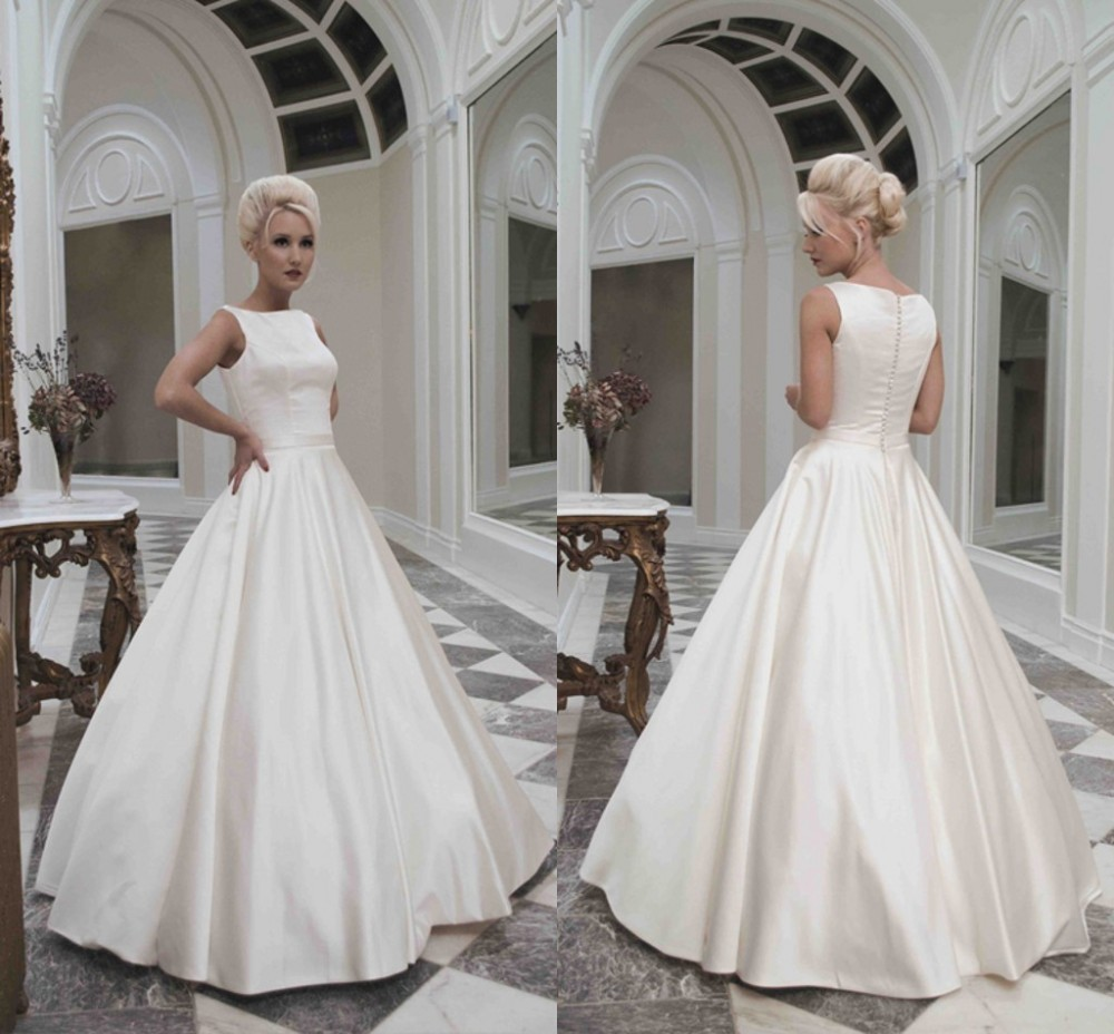 2018 New Wedding Dresses Floor Length White Ivory Smooth Satin Sleeveless Back With Covered On Vintage Style Bridal Gown Vestido De Noiva Long