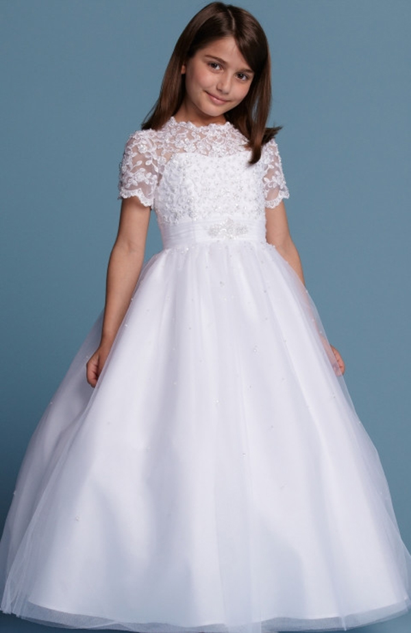 High Collar Short Sleeve Ball Gown White First Communion Dresses For