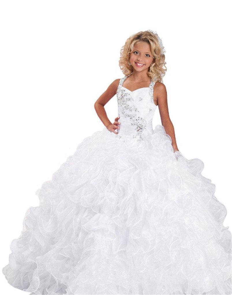 Puffy Little Girls  First Communion Crystal Flower Girl Kids Pageant Dresses  Ruffles Kids Prom Gown 88e52e685770